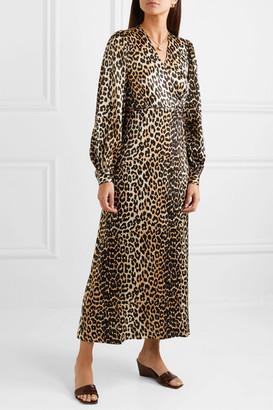 Ganni Leopard-print Silk-blend Satin Wrap Dress - Leopard print