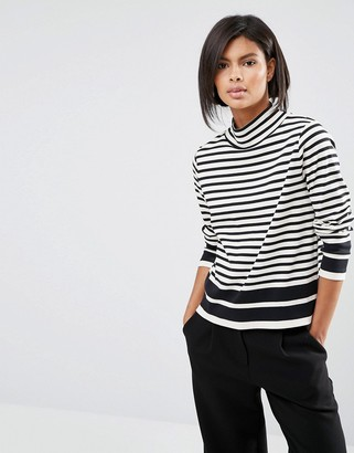 Whistles Funnel Neck Stripe T Shirt $113 thestylecure.com