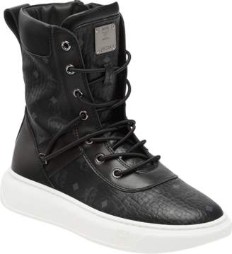 MCM Women's Lace Up Boots In Visetos