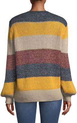 BCBGMAXAZRIA Striped Metallic Mohair V-Neck Sweater