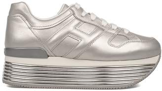 Hogan Silver Maxi H352 Wedge Sneakers