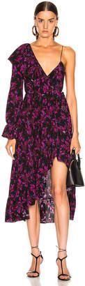 Les Rêveries Asymmetrical Ruffle Wrap Dress in Wispy Floral Black | FWRD