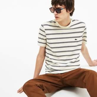 Lacoste Men's Striped Cotton And Linen T-Shirt