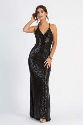 d9023b76752 Club L Womens   Sequin Cross Back Fishtail Dress