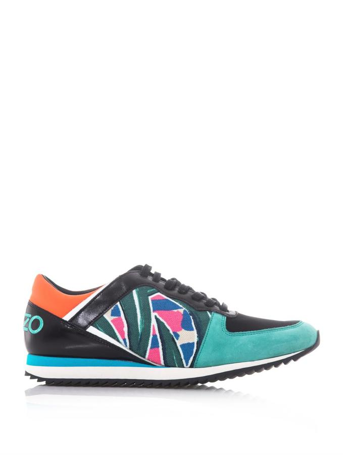 Kenzo Colour-block palm-print trainers