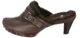 Stuart Weitzman Leather Shearling-Trimmed Mules