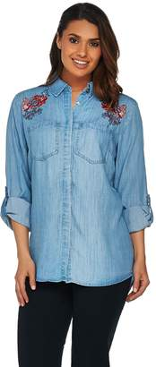 """C. Wonder Chambray """"Carrie"""" Blouse with Embroidery"""