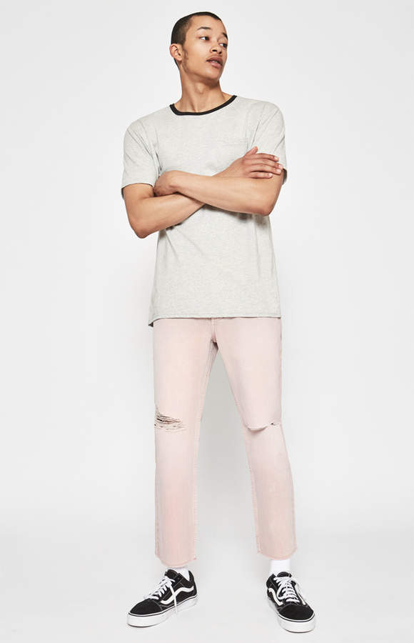 Pacsun Cropped Slim Vertical Stretch Destroy Pink Jeans