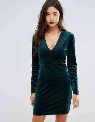 Ivyrevel Deep V Pleated Velvet Mini Dress