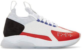 Versace White and Red Chain-Prene Reaction Sneakers