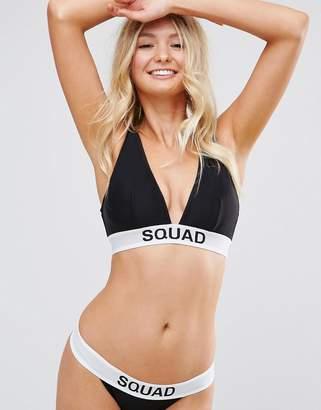 Asos FULLER BUST BRIDAL 'SQUAD' Elastic Slogan Triangle Crop Bikini Top DD-F