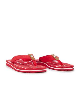 Tommy Hilfiger Footwear Flat Beach Letter Logo Flip Flops Colour: RED,