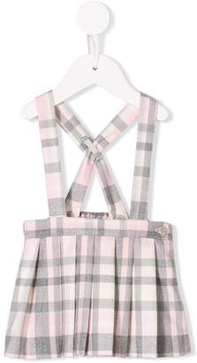 Il Gufo checked pleated suspender skirt