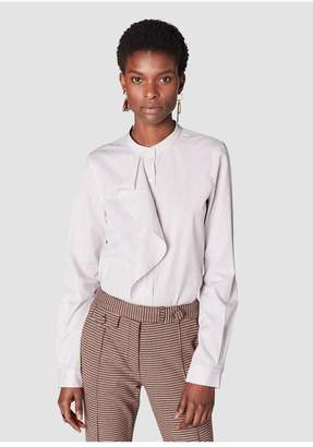 Derek Lam 10 Crosby Long Sleeve Button-Down Shirt With Cascade Ruffle