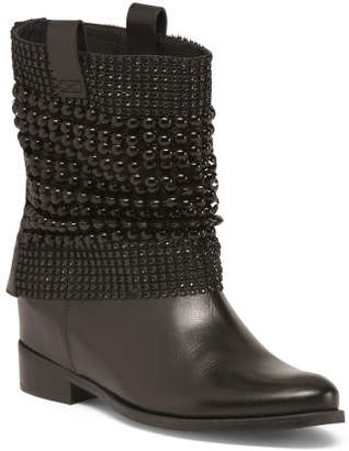 Made In Brazil Leather Hidden Wedge Boots