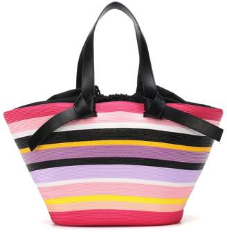 Emilio Pucci Striped leather-trimmed tote