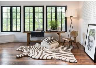 Birch Lane Kids Zebra Stripe Hand-TuftedFaux Cowhide Ivory/Brown Area Rug Rug
