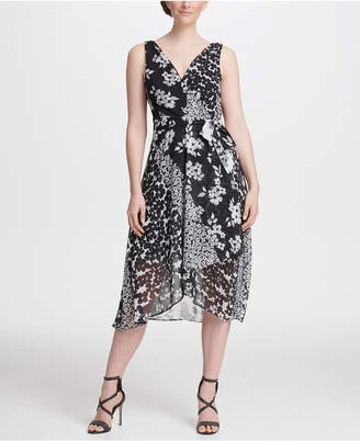 DKNY Mixed Floral Chiffon V-Neck Midi Wrap Dress with Belt