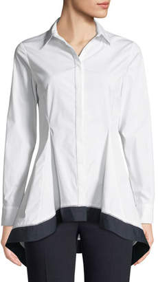 Lela Rose Flared-Hem Long-Sleeve Button-Front Shirt