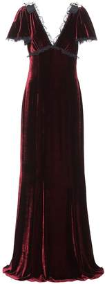 Dolce & Gabbana Lace-trimmed velvet gown
