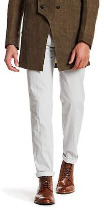 John Varvatos Collection White Pinstripe Flat Front Trouser