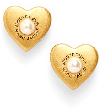 Women's Marc Jacobs Faux Pearl Heart Stud Earrings $45 thestylecure.com