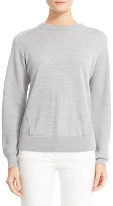 Women's Belstaff Samantha Rib Inset Merino Wool Blend Sweater $425 thestylecure.com