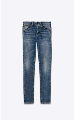 Saint Laurent Skinny Jeans With Sl Coat Of Arms Embroidery