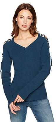 Cable Stitch Women's Lace-Up Cold Shoulder Sweater