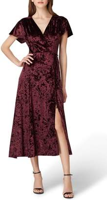 Tahari Panne Velvet Faux Wrap Dress