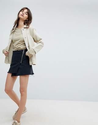 Weekday Exposed Zip Asymmetric Raw Hem Mini Skirt