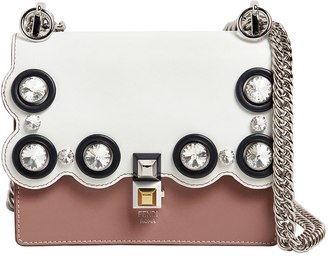 Fendi Small Kan I Leather Bag W/ Crystals
