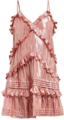 Rebecca Taylor Ruffled Silk Blend Lame Mini Dress - Womens - Light Pink