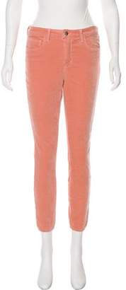 L'Agence Margot Velvet Mid-Rise Skinny Pants