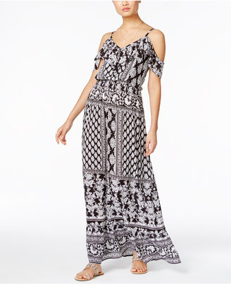 INC International Concepts Printed Cold-Shoulder Maxi Dress, Only at Macy's $99.50 thestylecure.com