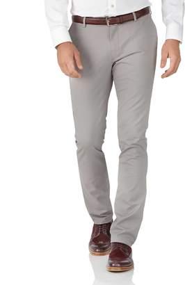 Charles Tyrwhitt Grey Extra Slim Fit Stretch Cotton Chino Pants Size W30 L34