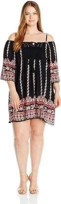 Angie Women's Plus Size Printed Crochet Front Dolman Sleeve Dress