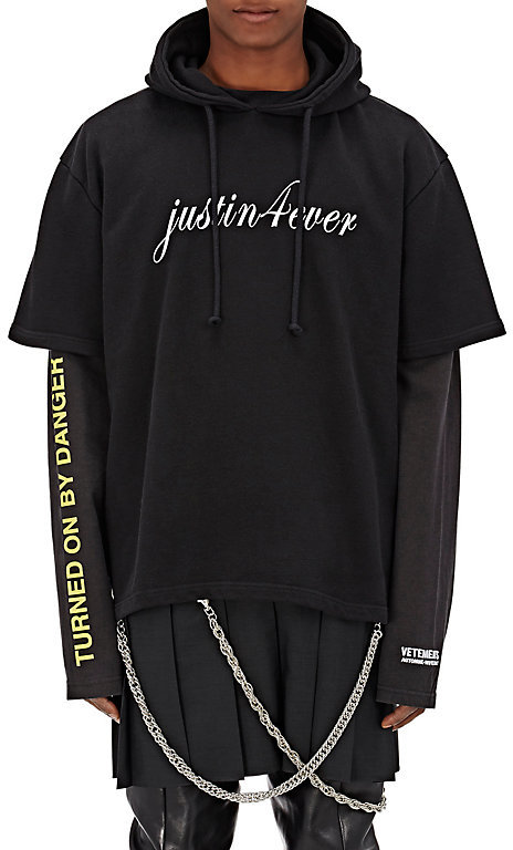Vetements Men's Cotton-Blend Layered Hoodie & Skirt-BLACK