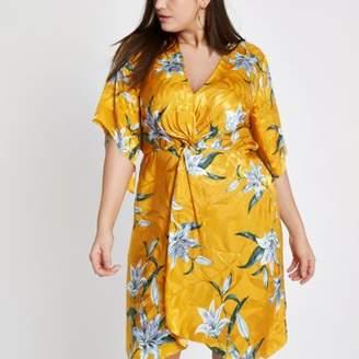 River Island Womens Plus yellow floral knot front kimono dress