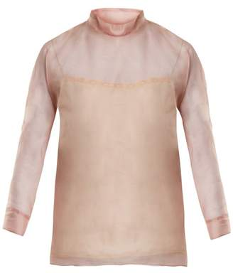 Prada High Neck Silk Organza Blouse - Womens - Light Pink