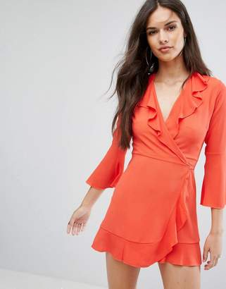 Outrageous Fortune Ruffle Wrap Dress With Fluted Sleeve
