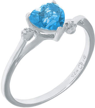 FINE JEWELRY Genuine Blue and White Topaz Sterling Silver Heart-Shaped Ring