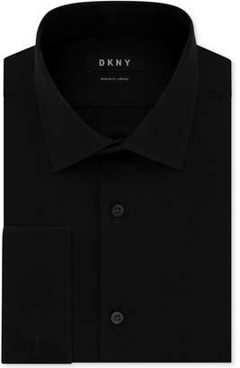 DKNY Men's Slim-Fit Performance Stretch Wrinkle-Resistant Black French Cuff Dress Shirt