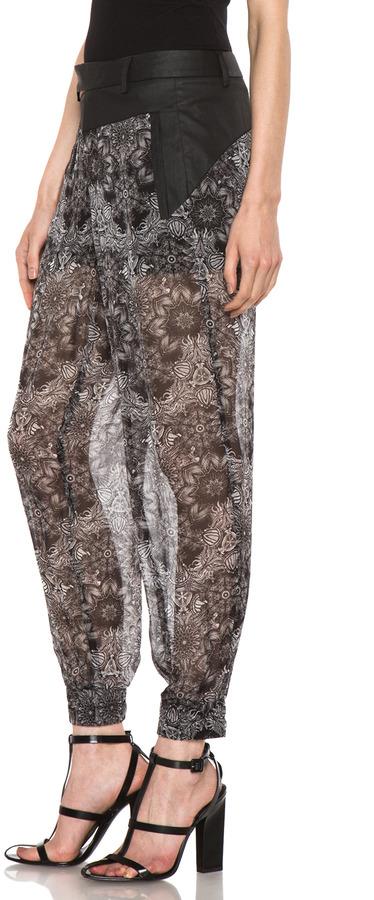 Helmut Lang Printed Cropped Viscose Pant in Grey Multi