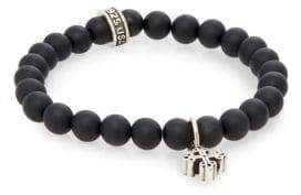 King Baby Studio Onyx Beaded & Sterling Silver Cross Bracelet