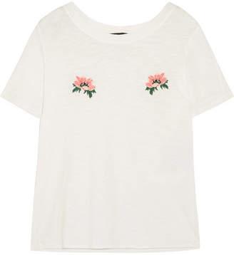 Maje Embroidered Slub Cotton-jersey T-shirt - White