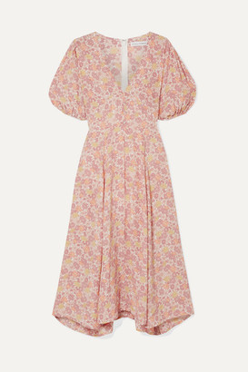 Faithfull The Brand Delia Floral-print Voile Midi Dress - Pink