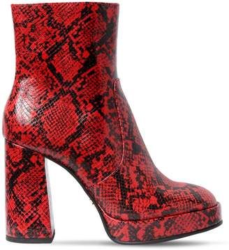 100mm Type Python Print Leather Boots