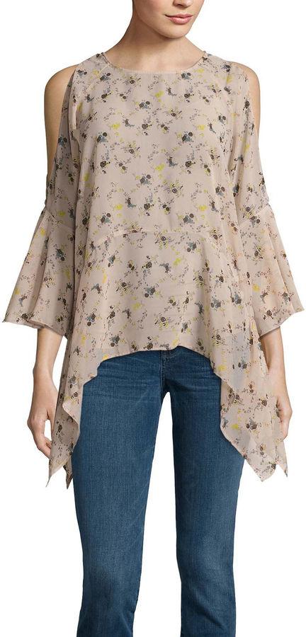 BUFFALO JEANS Buffalo Jeans 3/4 Sleeve Floral Ruffle Cold Shoulder Top