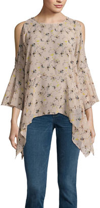 BUFFALO JEANS Buffalo Jeans 3/4 Sleeve Floral Ruffle Cold Shoulder Top $55 thestylecure.com